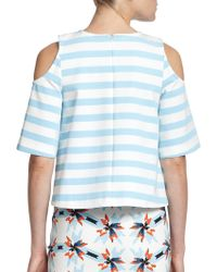 Tanya Taylor Cold-Shoulder Striped Top - Lyst