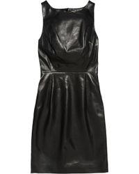 Saint Laurent Openback Leather Mini Dress - Lyst