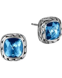 John Hardy Classic Chain London Blue Topaz Stud Earrings - Lyst