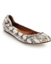 Lanvin Studded Snakeskin Ballet Flats - Lyst