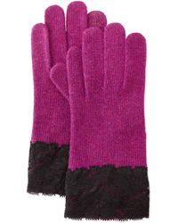 Portolano Cashmere-Blend Lace-Cuffed Tech Gloves purple - Lyst