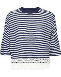 Topshop Lace Hem Stripe Top  Navy Blue - Lyst