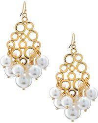 R.j. Graziano - Golden Pearly Drop Earrings - Lyst