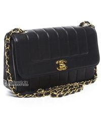 Chanel Pre-owned Vertical Stitch Vintage Small Flap Bag - Lyst