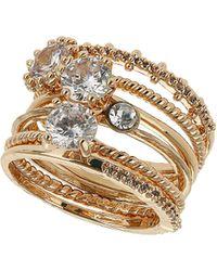 Topshop Premium Rhinestone Ring Pack  Clear - Lyst