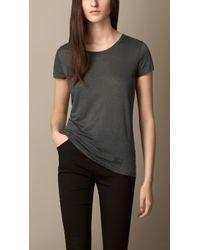 Burberry Gray Linen T-Shirt - Lyst
