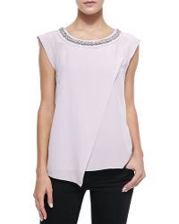 Rebecca Taylor Jewel-neck Silk Crossover Blouse - Lyst