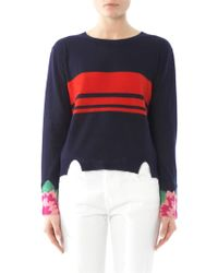 Band of Outsiders - Floral Cuff Stripe Sweater - Lyst