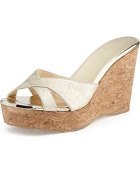 Jimmy Choo Perfume Textured Wedge Slide Sandal - Lyst