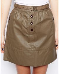 Le Mont St Michel - Leather Skirt With Button Detail - Lyst