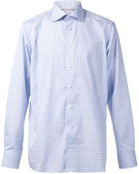 Eton Blue Checked Shirt - Lyst
