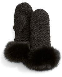 Surell - Knit Mittens W/fox Fur Trim - Lyst