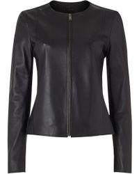 Jigsaw Clean Leather Jacket - Black