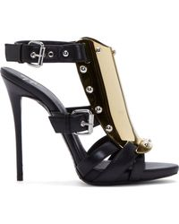 Giuseppe Zanotti Black and Gold Gladiator Plate Sandals - Lyst