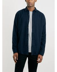 Topman Selected Homme Indigo Check Shirt - Lyst
