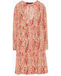 Zara Printed Tunic With Flared Sleeves floral - Lyst