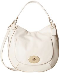 Coach Smooth Calf Leather Circle Hobo white - Lyst
