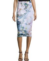 Ted Baker | Sinda Tile-floral-print Midi Pencil Skirt | Lyst