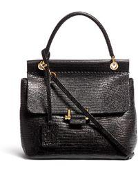 Lanvin 'Essential' Mini Top Handle Lizard Effect Leather Bag - Black