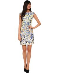 Kay Unger Multi Colored Daytime Printed Dress - Lyst