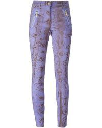 Versace Snakeskin Effect Skinny Trousers - Lyst