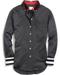 COACH Cotton Jersey Stripe Cuff Boy Shirt - Gray