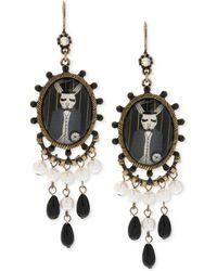 Betsey Johnson Brass-tone Rabbit Chandelier Earrings - Lyst