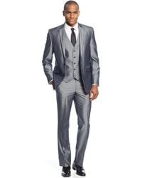 Kenneth Cole Reaction Grey Pinstripe Vested Slim-Fit Suit gray - Lyst