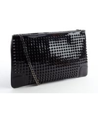 Christian Louboutin Black Patent Leather Loubiposh Spiked Convertible Clutch - Lyst
