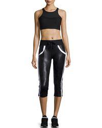 Ki Pro NYC Distressed Two-tone Capri Pants - Black