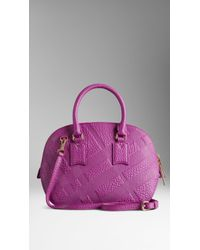 Burberry The Small Orchard In Embossed Check Leather - Lyst