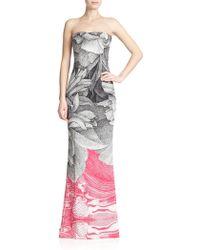 ESCADA Printed Strapless Gown - Lyst