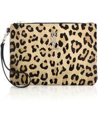 Saint Laurent | Monogram Leopard-print Calf Hair Zip Pouch | Lyst