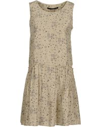 Maurizio Pecoraro Sleeveless Round Collar Beige Short Dress - Lyst