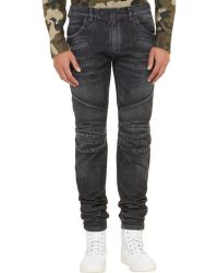 Balmain Distressed Biker Jeans - Lyst