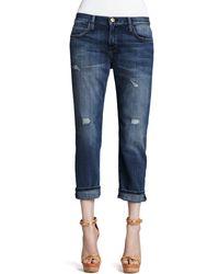 Current/Elliott Boyfriend Loved Destroyed Cuffed Jeans - Lyst