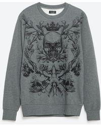 Zara | Embroidered Sweatshirt | Lyst