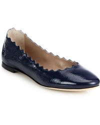 Chloé Scalloped Patent Leather Flats blue - Lyst