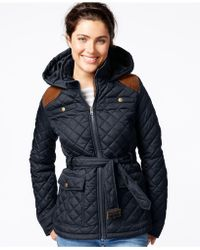 Krush Hooded Belted Quilted Jacket - Blue