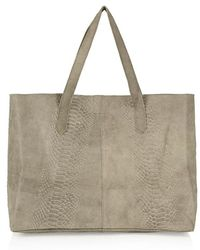 Topshop Snake Effect Suede Tote green - Lyst