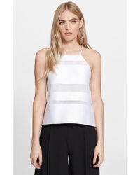 Milly Women'S Stripe Fil Coupe Halter Trapeze Camisole - Lyst