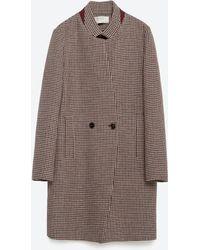 Zara | Check Wool Coat | Lyst