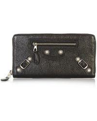 Balenciaga Giant Money Leather Zip Wallet - Lyst