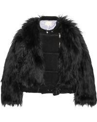 Band Of Outsiders Wool Blendpaneled Faux Fur Biker Jacket - Lyst