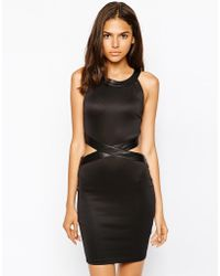 AX Paris Body-Conscious Dress With Pu Trim And Cut-Out - Lyst