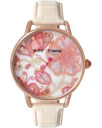 Betsey Johnson Floral Leather Strap Watch - Natural