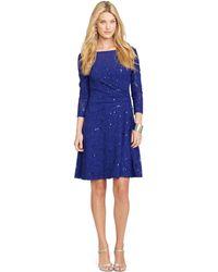 Lauren by Ralph Lauren Petite Sequined Faux-Wrap Dress - Lyst