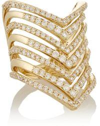 Lynn Ban - Chevron 14-Karat Gold Diamond Phalanx Ring - Lyst