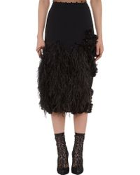 Emanuel Ungaro Feather Embellished Pencil Skirt - Lyst
