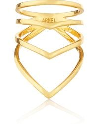 Arme De L'amour Chevron Gold-Plated Ring - Lyst